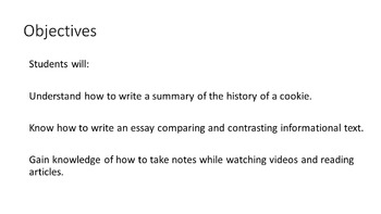 Compare Contrast Cookie Text Structure Research Evidence Writing Test Prep 6 7 8