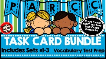 PARCC Test Prep Vocabulary Task Cards A/B Format BUNDLE (Sets1-3)