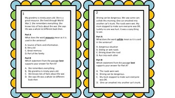 PARCC Test Prep Vocabulary Task Cards A/B Format Set 2