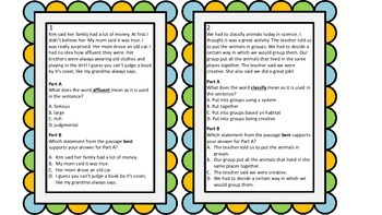 PARCC Test Prep Vocabulary Task Cards A/B Format Set 3