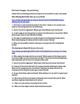 PARCC Test Prep / Common Core Paired Passages for High School ELA--Dress Codes