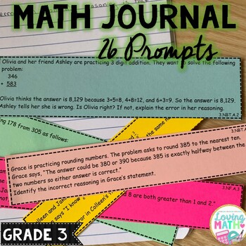 Error Analysis | Math Journal Prompts Grade 3 CCSS Aligned