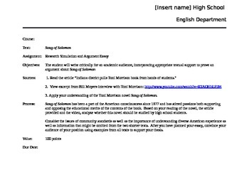 PARCC formatted Song of Solomon essay and CCSS argumentative rubric