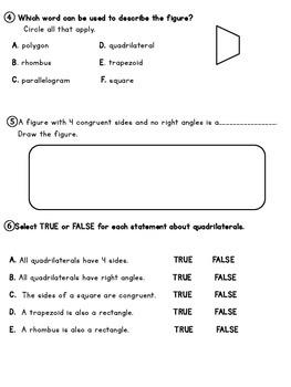 PARCC-like 2-D Shapes Assessment