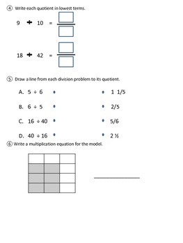 PARCC-like Assessment Multiply and Divide Fractions