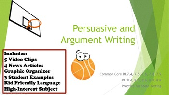 Persuasive Argument Text Structure Writing Test Prep Pract