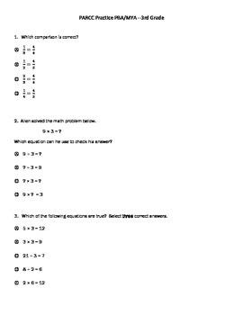PARCC practice test for 3rd Grade Math PBA/MYA