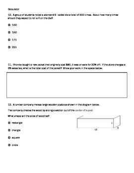 PARCC practice test for 7th Math EOY