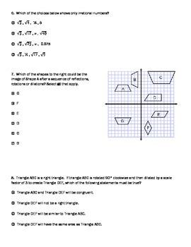 PARCC practice test for 8th Math PBA/MYA
