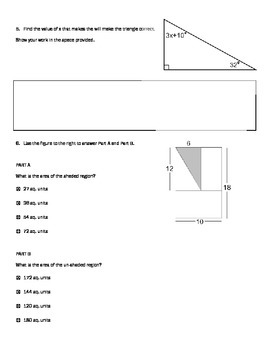 PARCC style questions --7th grade Geometry