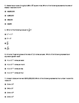PARCC style questions Exponents & Scientific Notation