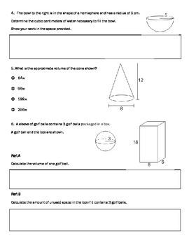 PARCC style questions --Volume