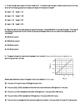 PARCC style questions on Proportional Relationships