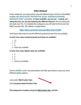PARCC test prep webquest - MATHEMATICS