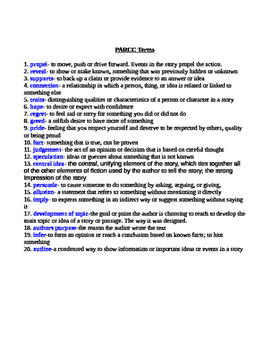 PARCC vocab terms w/ quiz