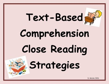 PARCC/CCSS Tex-Based Comprehension Close Reading Strategies Anchor Chart