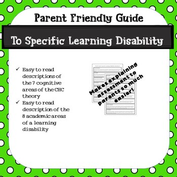 PARENT FRIENDLY GUIDE TO SLD ASSESSMENT AREAS