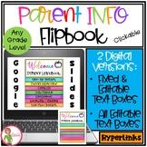 PARENT HANDBOOk Flipbook - GOOGLE USE - 2 Editable Versions - Back to School
