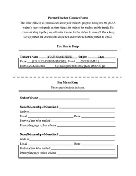 PARENT INFORMATION FORM