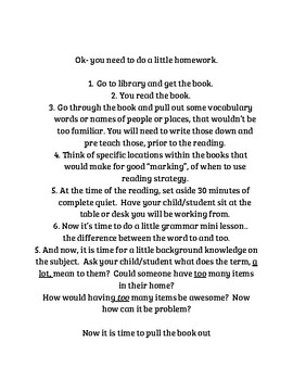 PARENTS homework written comprehension questions TRC help levels summer practice