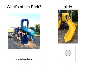 PARK Playground Matching Adapted Velcro BOOK, SPEECH THERAPY, Autism, Vocabulary