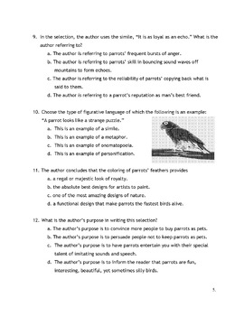Animal PARROT TALK Info + Metaphors, Similes, Vocabulary 12 Multiple Choice Ques