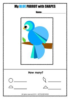 PARROT Shapes Craft (color, B&W)- Cut and Paste Shape Puzzle (Distance Learning)