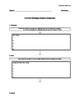 PARS Reading Strategy Graphic Organizer