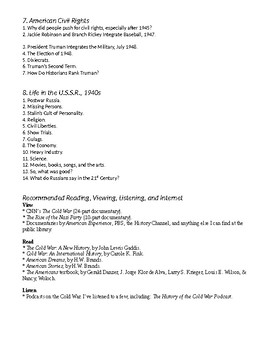 Cold War Part I. Frenemies, 1917-1949 Study Guide Bullet Points