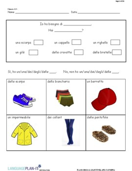 PARTITIVES AND CLOTHING (ITALIAN)