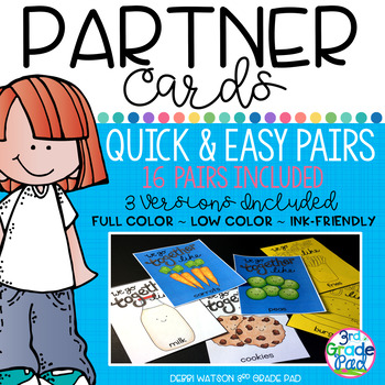 PARTNER CARDS  16 Sets Included ~ Full color ~ Low Color ~ Ink-Friendly ~