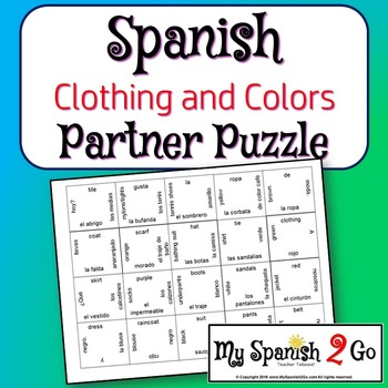 PARTNER PUZZLES:  Clothing and Colors