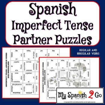 PARTNER PUZZLES-Imperfect Tense regular ar/er/ir and irregulars