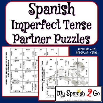 PARTNER PUZZLES-Imperfect Tense regular ar/er/ir and irregulars