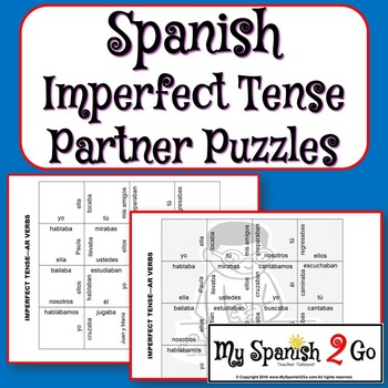 PARTNER PUZZLES--Spanish Imperfect Tense -ar verbs
