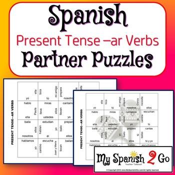 PARTNER PUZZLES--Spanish Present Tense -ar verbs