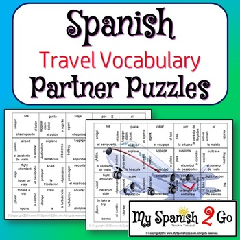 PARTNER PUZZLES:  Spanish/English Travel Vocabulary