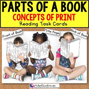 """PARTS OF A BOOK Concepts of Print TASK CARDS """"Task Box Filler"""" for Autism"""
