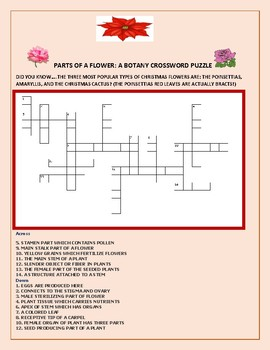 PARTS OF A FLOWER: A CHALLENGING CROSSWORD: GRADES 8-12, MG
