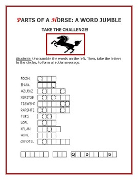 PARTS OF A HORSE WORD JUMBLE: TAKE THE CHALLENGE