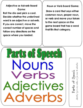 PARTS OF SPEECH File Folder Game- identify nouns, verbs, adj. & adv.