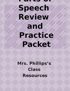 PARTS OF SPEECH REVIEW AND PRACTICE PACKET