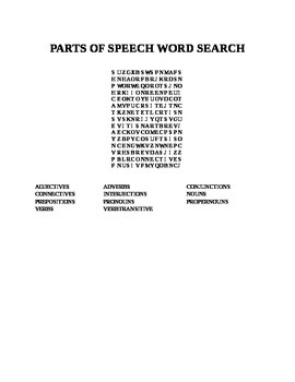 PARTS OF SPEECH WORD SEARCH