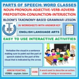 PARTS OF SPEECH WORKSHEETS WITH ANSWERS