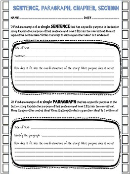 PARTS OF TEXT and the OVERALL STRUCTURE - Informational Reading Toolkit - RI.6.5