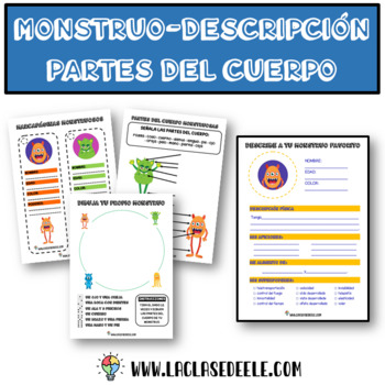 PARTS OF THE BODY MONSTER-DESCRIPTION GAMES FOR SPANISH CLASS