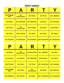 PARTY BINGOSPIEL with games, word search and flashcards