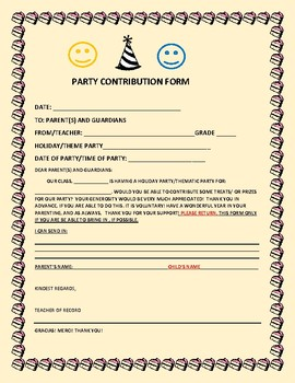 PARTY CONTRIBUTION FORM-FOR TEACHERS