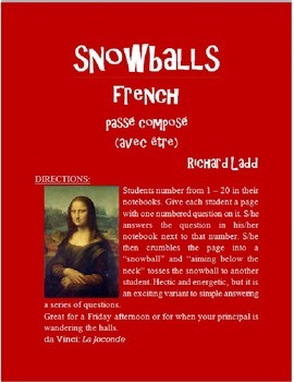 PASSE COMPOSE w ETRE Snowballs FRENCH