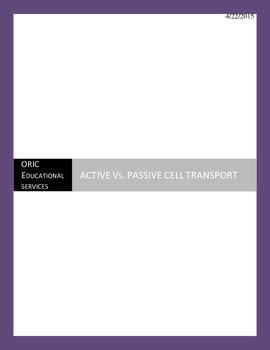 PASSIVE Vs. ACTIVE CELL TRANSPORT NOTE ORGANIZER